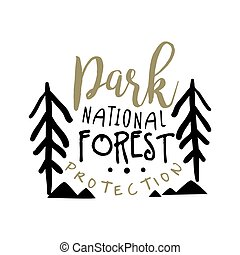 National park forest protection design template, hand drawn vector Illustration