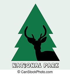 National park icon with deer stag and fir - National park...