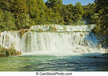 national, -, park, krka, kroatien, wasserfälle