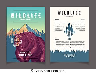 National park nature attractions vector booklet - National...