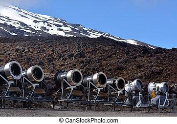Snow Gun Snowmakers - NATIONAL PARK, NZ - DEC 8 2014:Snow...