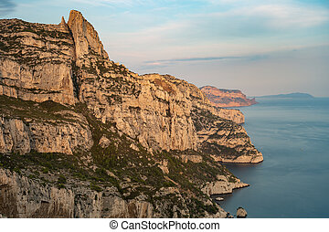 National park of Calanques captured from above at