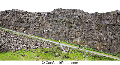 National Park of Thingvellir (Iceland). It is the site of a rift valley that marks the crest of the Mid-Atlantic Ridge