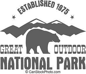 National park old style badge. Mountain explorer label. Outdoor adventure logo design with bear. Travel and hipster insignia. Wilderness, forest camping emblem Hiking, backpack Vector monochrome.