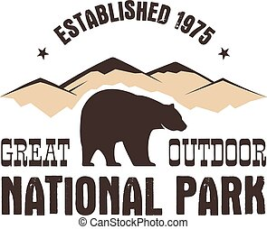 National park retro style badge. Mountain explorer label. Outdoor adventure logo design with bear. Travel and hipster insignia. Wilderness, forest camping emblem Hiking. Vector design typography.