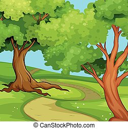 National park scene with big trees illustration
