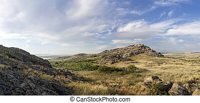 "National Park "" Stone Tombs "". Donetsk. Ukraine. Beautiful summer landscape in the mountains, panorama"