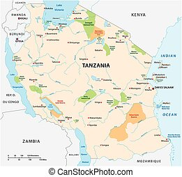 National park vector map of the East African state of ...