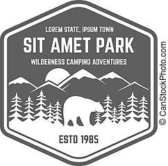 National park vintage badge. Mountain explorer label. Outdoor adventure logo design with bear. Travel and hipster insignia. Wilderness, forest camping emblem Hiking, backpack Vector monochrome.