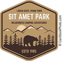 National park vintage badge. Mountain explorer label. Outdoor adventure logo design with bear. Travel and hipster insignia. Wilderness, forest camping emblem Hiking, backpack Vector design typography.