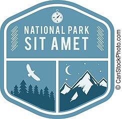 National park vintage badge. Mountain explorer label....