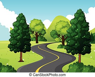 National park with empty road illustration