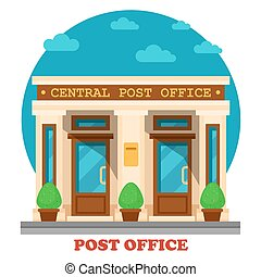 National post office for mail services like accepting letters and parcels. Architecture of building for transfer packs or documents by postman. Great for structure and construction exterior panorama