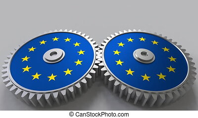 national project. Flags of the European Union EU on moving...