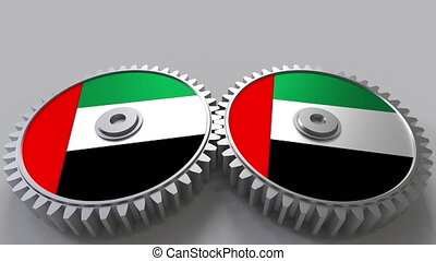 National project. Flags of the United Arab Emirates UAE on...