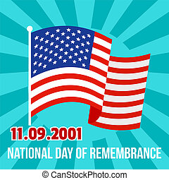 National remembrance american day background, flat style -...