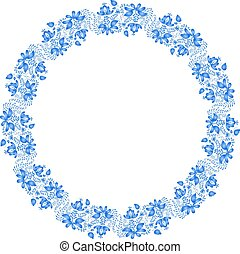 National Russian painting. Gzhel. Round floral design element. V