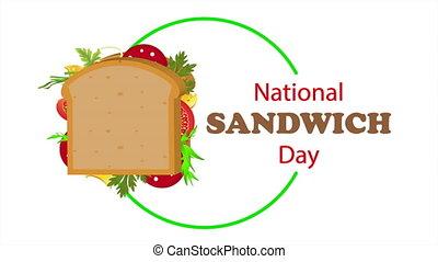 National sandwich day logo, art video illustration.