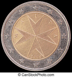National side of Malta two euro coin on black background