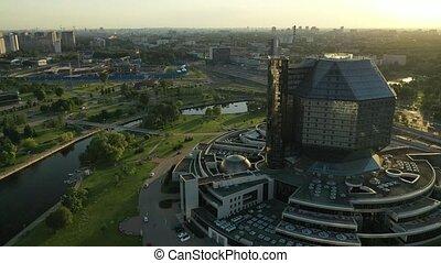 national, sommet, parc, sunset.belarus, bâtiment, nouveau, minsk, bibliothèque, public, vue, voisinage