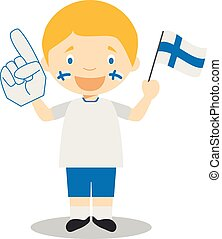 National sport team fan from Finland with flag and glove Vector Illustration