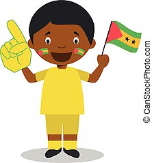 National sport team fan from Sao Tome and Principe with flag...