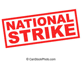 NATIONAL STRIKE red Rubber Stamp over a white background.