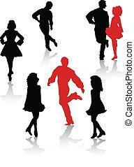 national, tänzer, silhouette, leute