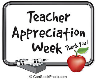 National Teacher Appreciation Week is held each year in the USA during the 1st week of May, to honor teacher contributions. Thank you on whiteboard. red apple, marker pen, eraser. EPS8 compatible.
