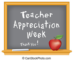 National Teacher Appreciation Week to honor teacher contributions, held annually during the 1st week of May. Chalk text on blackboard with red apple and a big Thank You!. EPS8 organized in groups for easy editing.