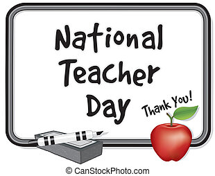 National Teacher Day, held annually since 1984 on Tues of 1st full week of May. Thank you on whiteboard. red apple, marker pen, eraser. EPS8 compatible.