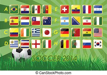 National Team Flags for soccer 2014