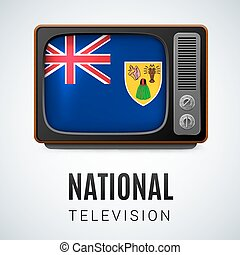National television - Vintage TV and Flag of Turks and...