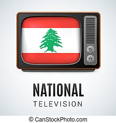 National television - Vintage TV and Flag of Lebanese...