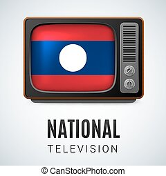 National television - Vintage TV and Flag of Laos as Symbol...