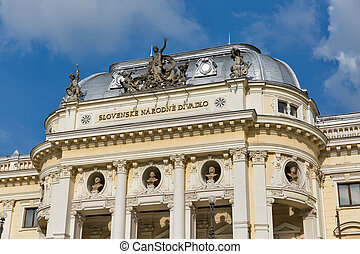 National theatre facade in the old town of Bratislava, Slovakia.