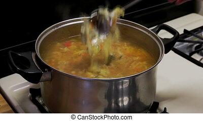 National ukrainian borsch cooking vegetable soup on the...