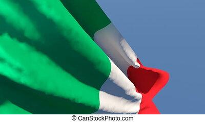 national, vent, drapeau italie, voler