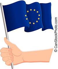 national, ventilateurs, drapeau, illustration, main, onduler, jour, vecteur, tenue, patriotique, union., concept., indépendance, européen