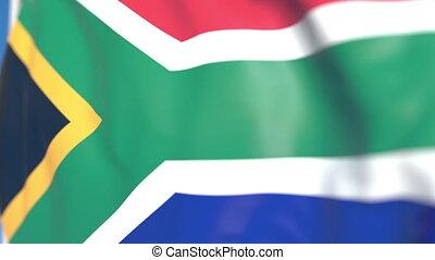 national, voler, afrique, loopable, drapeau, animation, gros plan, sud, 3d