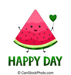 National Watermelon Day. August. Vector. Funny slice with seeds and a balloon.