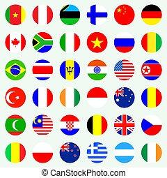 National world flags set.