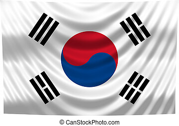 nationale, korea, vlag, zuiden