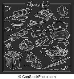 nationale, krijt, china, chinese cuisine, voedingsmiddelen, schets