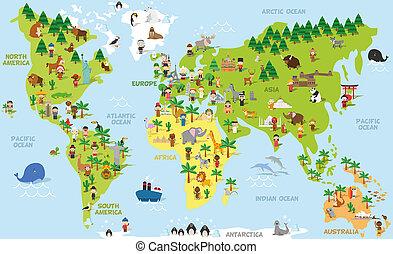 nationaliteiten, continenten, vector, wereld, gekke , alles...