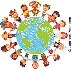 Earth day - Nationalities. Different culture standing ...