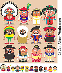 Set of 12 characters dressed in different national costumes. Each character is in 2 color versions depending on the background. No transparency and gradients used.