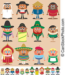 Set of 12 characters dressed in different national costumes.