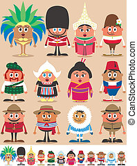 Nationalities Part - Set of 12 characters dressed in...