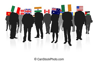 Illustration of lots of people with flags as heads